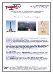 Eiffel Turm, Bordeaux Weine und Périgord - transglobe