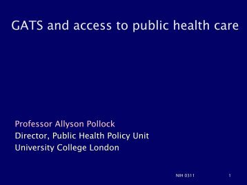 Allyson Pollock - The Department of Bioethics