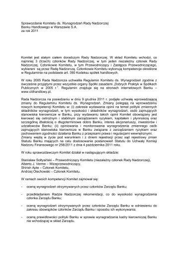 Sprawozdanie Komitetu ds. Wynagrodzeń Rady Nadzorczej Banku ...