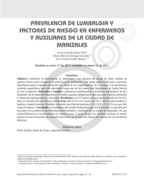 prevalencia de lumbalgia y factores de riesgo en enfermeros y ...