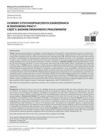 Pełen tekst (PDF) - Instytut Medycyny Pracy im. prof. J. Nofera
