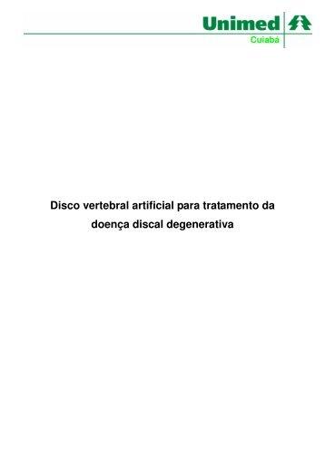 Disco vertebral artificial para tratamento da ... - Unimed Cuiabá