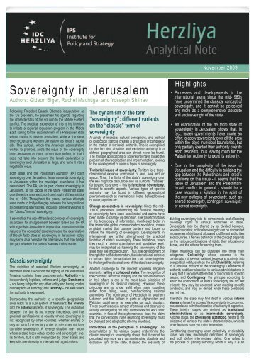 Sovereignty in Jerusalem
