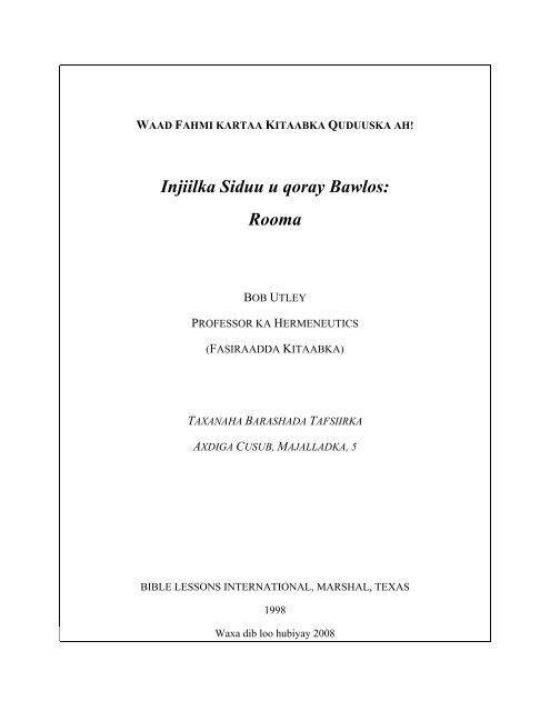 Injiilka Siduu u qoray Bawlos: Rooma - Free Bible Commentary