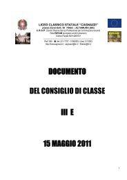 DOCUMENTO DEL CONSIGLIO DI CLASSE III E 15 MAGGIO 2011