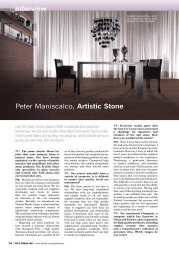 TT interview Peter Maniscalco, Artistic Stone - Infotile