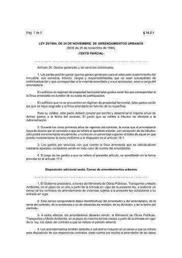 LEY 29/1994, DE 24 DE NOVIEMBRE, DE ... - Catastro