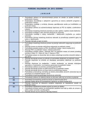 poreski kalendar za 2013. godinu januar 8. 10. 15. 21. 22. 30. 31.