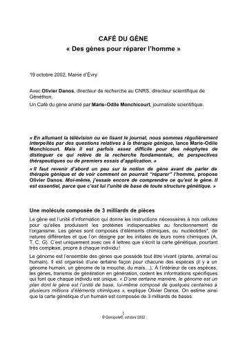 CAFÉ DU GÈNE « Des gènes pour réparer l'homme » - Genopole