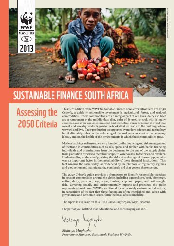SuStainable Finance South aFrica assessing ... - WWF South Africa