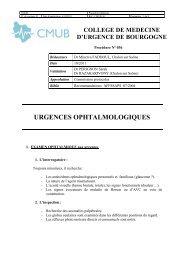 URGENCES OPHTALMOLOGIQUES - CMUB