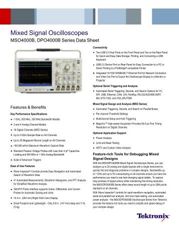 Mixed Signal Oscilloscopes - MSO4000B, DPO4000B Series