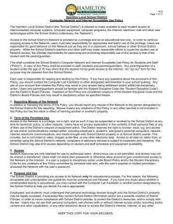 Hamilton Local Schools Acceptable Usage Policy (Grades PK-3)