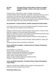 Job Title: Production Planner, Project Planner, Project Co-ordinator ...