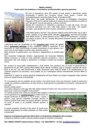 Maioli Piante: frutti antichi tra tradizione e ... - Clamer Informa