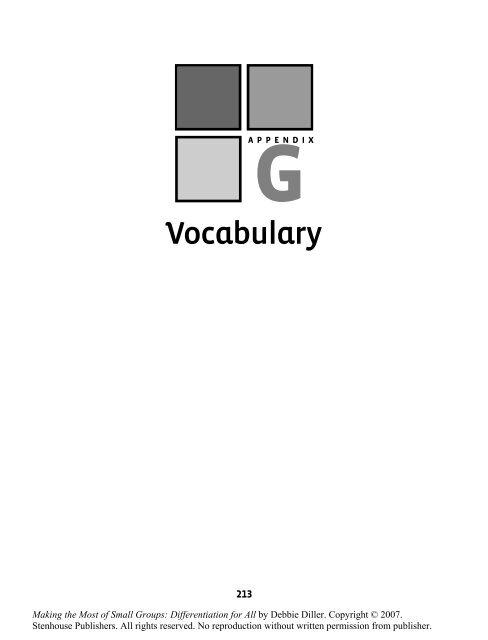Appendix G. Vocabulary - Stenhouse Publishers