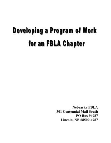 Program of work - Nebraska FBLA
