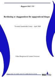 SGC Rapport 153 Beräkning av daggpunkten för uppgraderad biogas