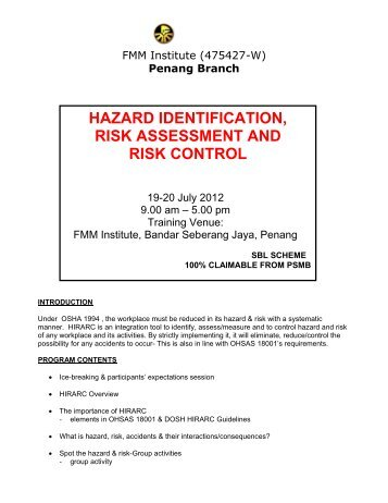 hazard identification and risk assessment pdf free