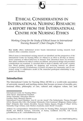 Ethical Considerations in International Nursing Research: A Report ...