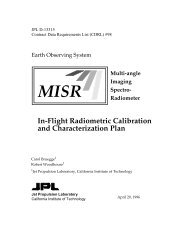 MISR: In-Flight Radiometric Calibration and Characterization Plan