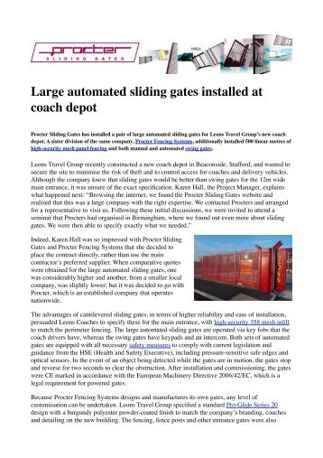 Large automated sliding gates installed at coach depot - Barbour ...