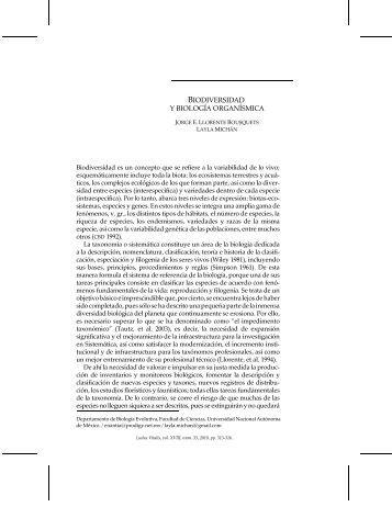BIODIVERSIDAD Y BIOLOGÍA ORGANÍSMICA - Ludus Vitalis