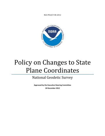 Policy on Changes to State Plane Coordinates - National Geodetic ...