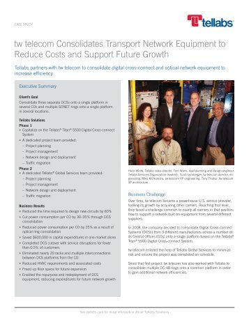 tw telecom Consolidates Transport Network Equipment to ... - Tellabs