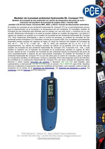 Medidor de humedad ambiental Hydromette BL ... - PCE Ibérica
