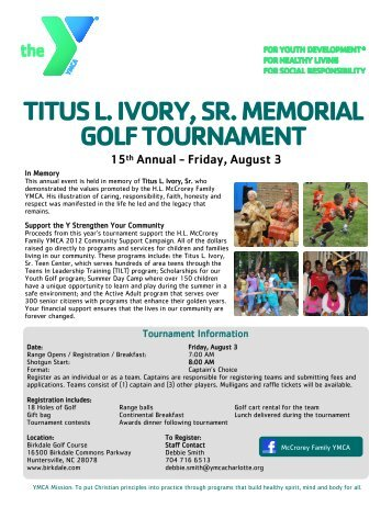 titus l. ivory, sr. memorial golf tournament - YMCA of Greater Charlotte