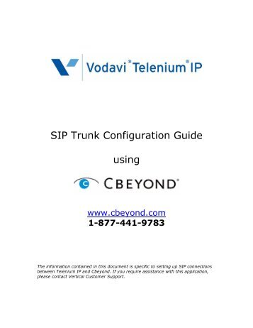 SIP Trunk Configuration Guide using - Vertical