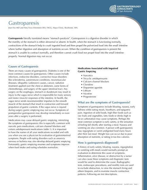 Gastroparesis - Gastroenterology Consultants
