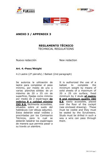 anexo 3 / appendix 3 reglamento técnico technical regulations