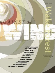 Wake Forest Magazine, Summer 2008 - Past Issues - Wake Forest ...