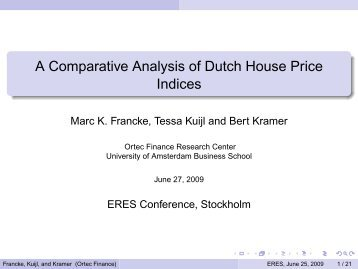A Comparative Analysis of Dutch House Price Indices