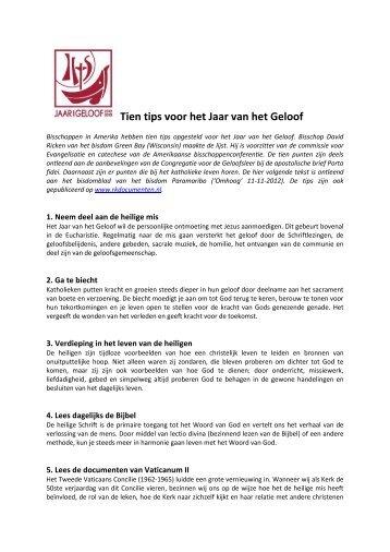 Tien tips voor het Jaar van het Geloof - Bisdom Rotterdam