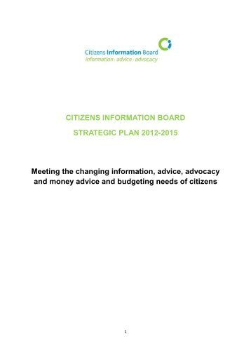 CITIZENS INFORMATION BOARD STRATEGIC PLAN 2012-2015 ...