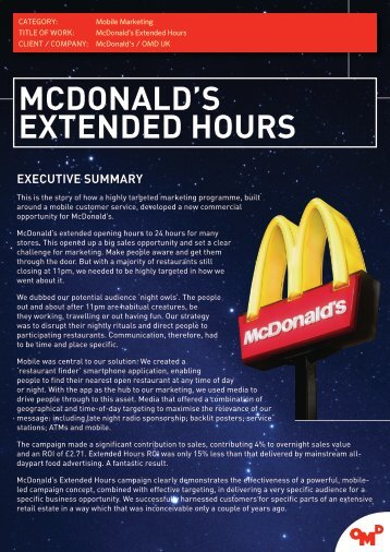 McDonald's Extended Hours.pdf - The Marketing Society