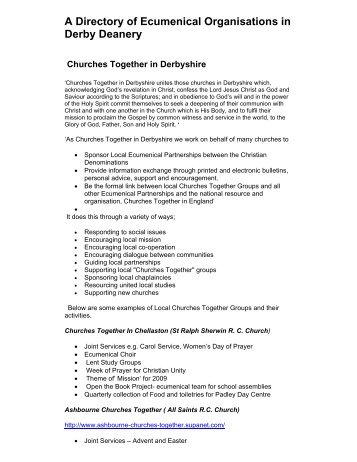 Ecumenical Directory - Diocese of Nottingham