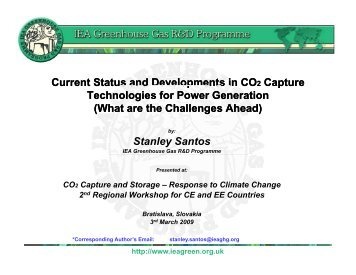 Current Status and Developments in CO 2 Capture Current Status ...