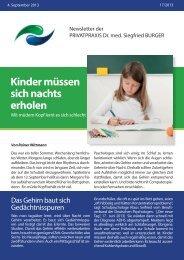 Kinder müssen sich nachts erholen - Privatpraxis Dr. Siegfried Burger