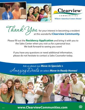 Residency Application - Clearview Communities