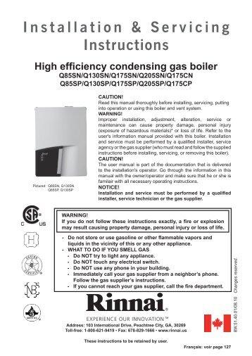 Installation & Servicing Instructions - Rinnai