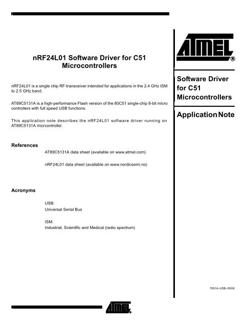 nRF24L01 Software Driver - Atmel Corporation
