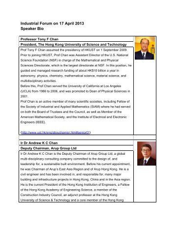 speaker biographies - Department of Electronic & Computer ...
