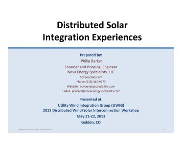 Distributed Solar Integration Experiences - Utility Variable ...