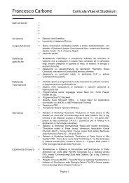 Curriculum Vitae e Pubblicazioni - J&B Srl
