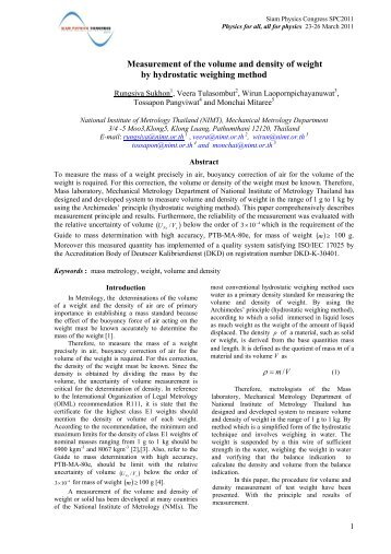 Measurement of the volume and density of weight by hydrostatic ...