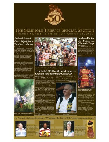 August 31 - 50th Anniversary - Seminole Tribe of Florida